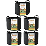 HONEST OUTFITTERS 5-Pack 10 Gallon Smart Grow Bags for Potato/Plant Container/Aeration Fabric Pots with Handles (Black) Photo, best price $30.99 new 2019