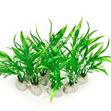 COMSUN 10 Pack Artificial Aquarium Plants, Small Size 4 inch Approximate Height Fish Tank Decorations Home Décor Plastic Green Photo, best price $9.99 new 2019