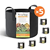 HONEST OUTFITTERS 5-Pack 10 Gallon smart Grow Bags for Potato/Plant Container/Aeration Fabric Pots With Handles (Black) Photo, best price $30.99 new 2018