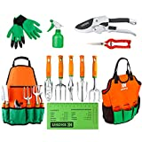 UKOKE Garden Tool Set, 12 Piece Aluminum Hand Tool Kit, Garden Canvas Apron with Storage Pocket, Outdoor Tool, Heavy Duty Gardening Work Set with Ergonomic Handle, Gardening Tools for women men Photo, best price $34.98 new 2019